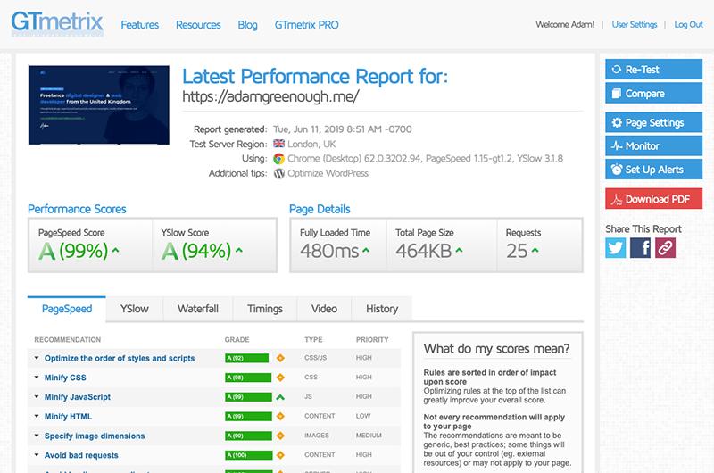 Screenshot of GTMetrix showing grade A scores for this website