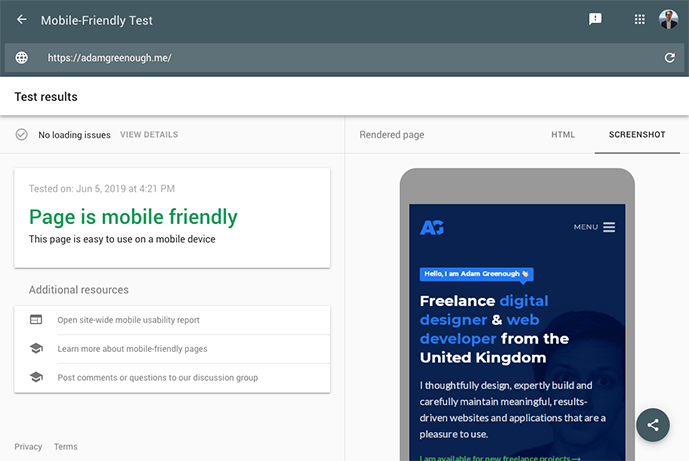 A screenshot of Google Mobile Friendly test showing that adamgreenough.me website is mobile friendly