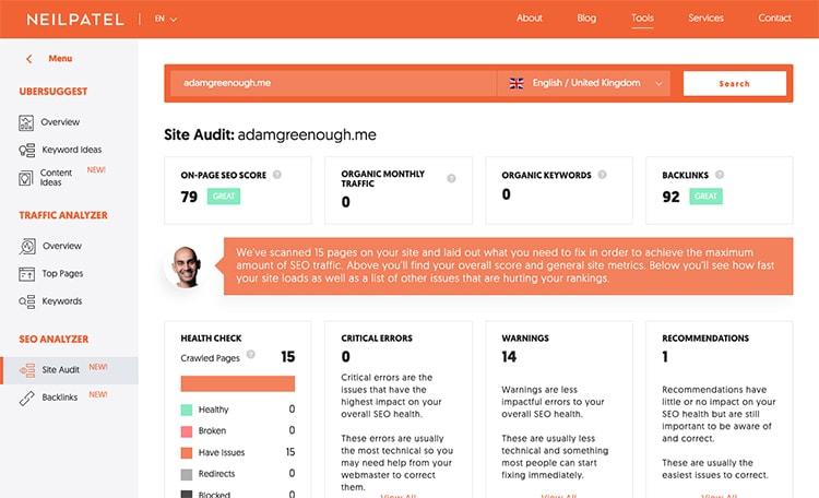 A screenshot of the Neil Patel SEO Analyser Website Testing Tool