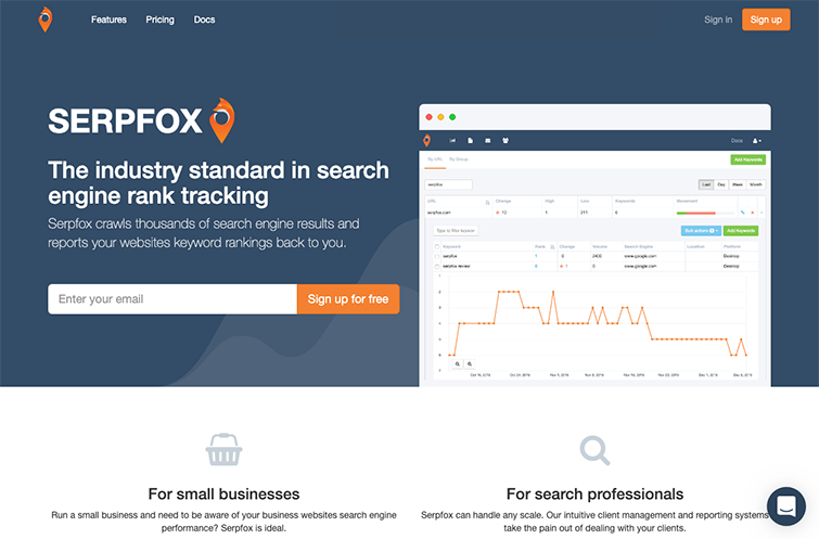 A screenshot of the SerpFox homepage