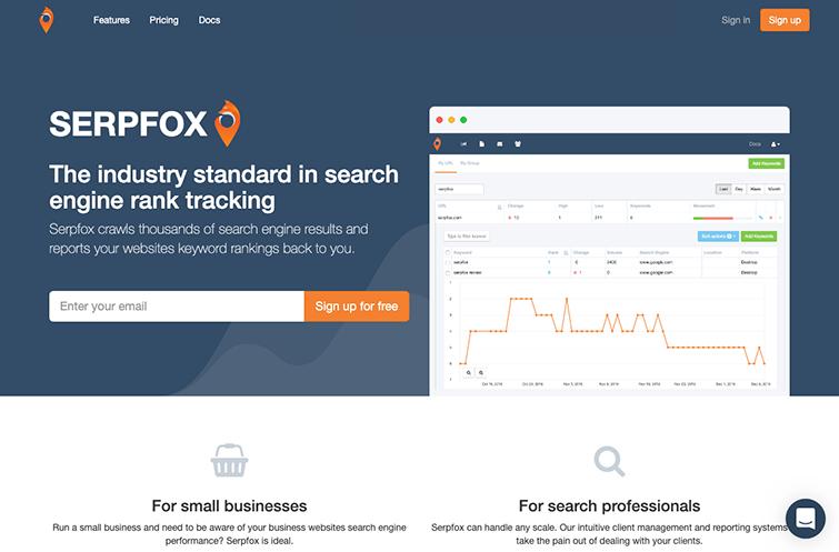 A screenshot of the SerpFox homepage