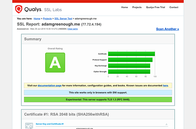 A screenshot of SSL Labs Website Testing Tool showing an A rating for adamgreenough.me