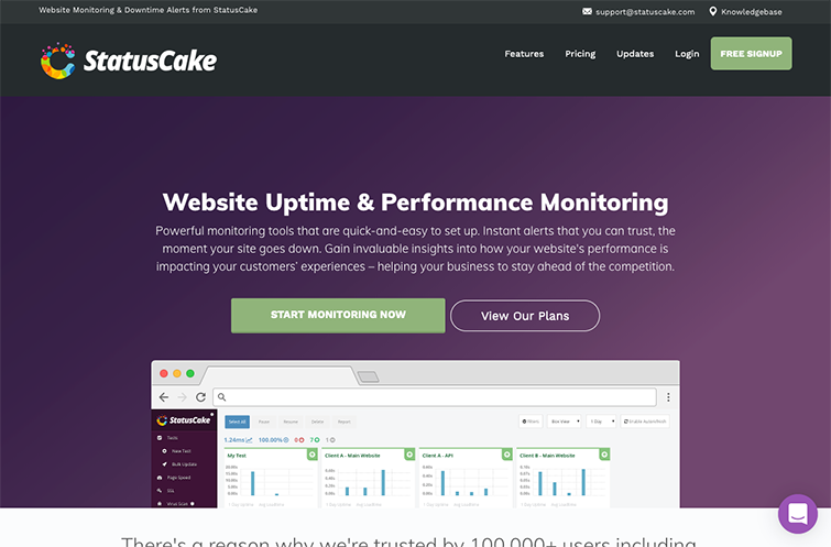 A screenshot of StatusCake Website Testing Tool homepage