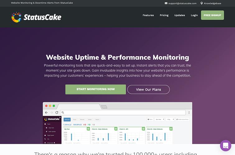 A screenshot of StatusCake Website Testing Tool homepage
