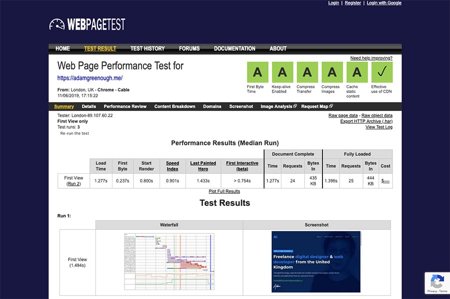 A screenshot of WebPageTest showing straight A's for this website