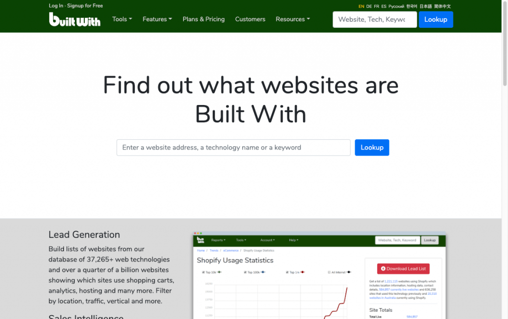 Screenshot of the BuiltWith website