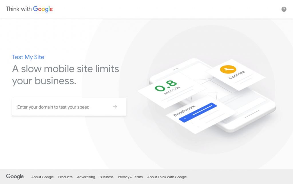 Screenshot of the Test My Site by Google website